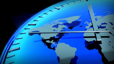 stock-footage-computer-rendered-animation-for-world-news-or-current-events-with-blue-clock-and-world-map