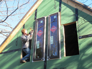 Happily we are far beyond installing windows... but building kitchen cabinets would be nice!